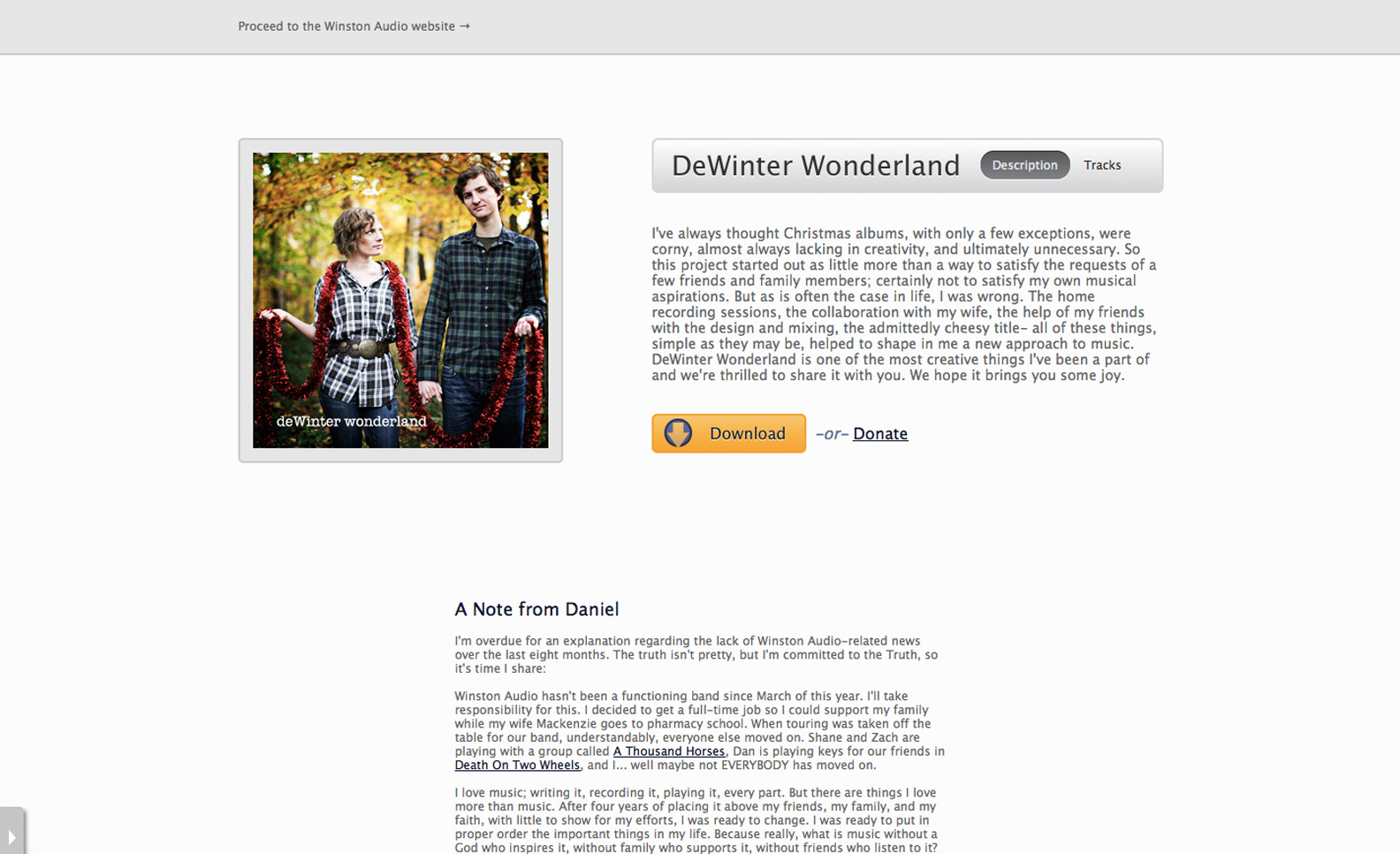 DeWinter Wonderland Landing Page Screenshot